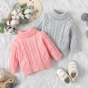 Baby Solid Turtleneck Long-sleeve Cable Knit Sweater