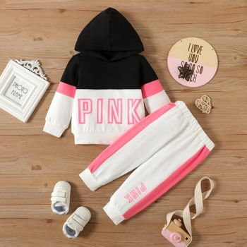 2pcs Baby Letter Print Color Block Cotton Long-sleeve Hoodie and Trousers Set
