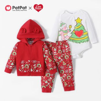 Care Bears Christmas Zip-up Hooded Coat and Bodysuit and Pants Set
