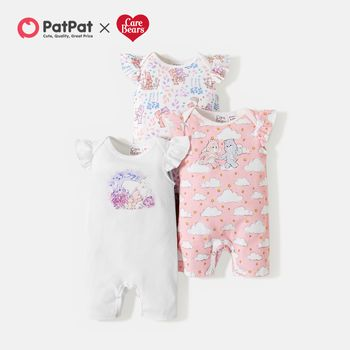 Care Bears Baby Girl 100% Cotton Floral and Cloud Romper/One Piece