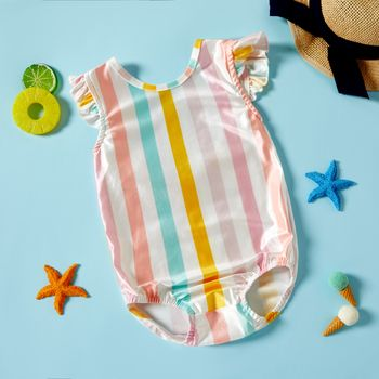 Casual Striped One-piece Baby Swimsuit