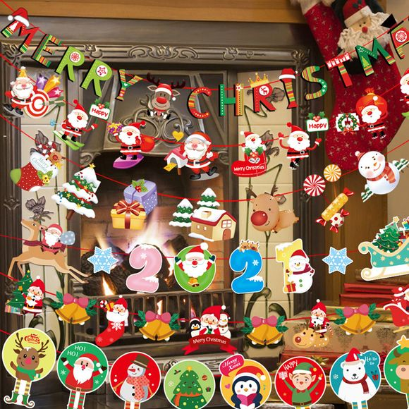 Christmas Cartoon Bunting Party Supplies, Christmas Banners Decor Flags Hanging for Christmas Party Home Decoration Banners