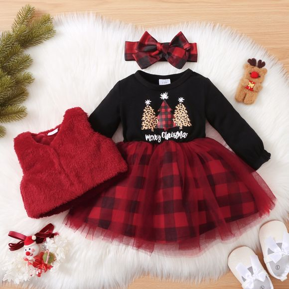 Christmas 3pcs Baby Tree and Letter Cotton Long-sleeve Red Plaid Mesh Dress and Fuzzy Fleece Vest Set