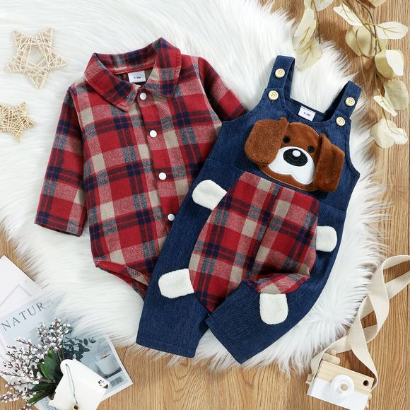 Christmas 2pcs Baby Red Plaid Long-sleeve Shirt Romper and 100% Cotton Denim Overalls Set