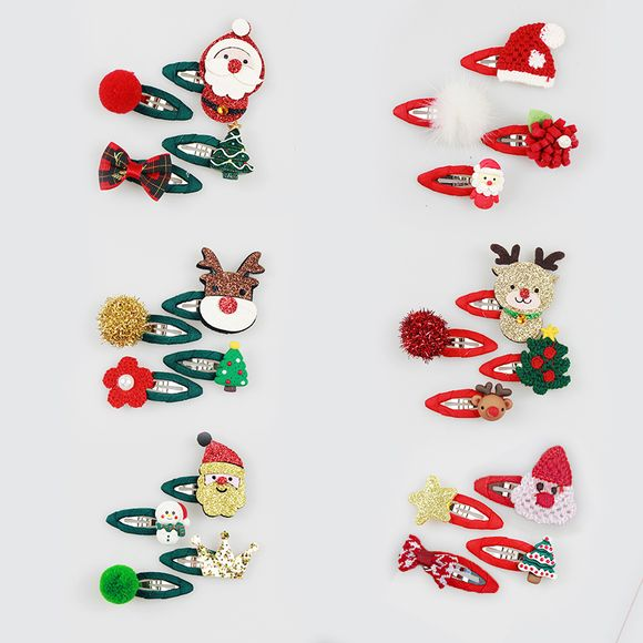 4-pack Women Christmas Hair Clip Christmas Sequined Decor Hair Clip Hair Accessories for Christmas Party Supplies