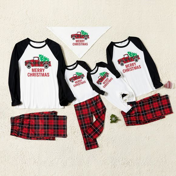 Family Matching Plaid Truck Carrying Christmas Tree Pajamas Sets (Flame Resistant)
