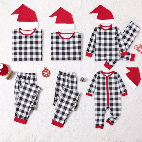 Christmas Black and White Plaid Family Matching Long-sleeve Pajamas Sets Within Hats (Flame Resistant)