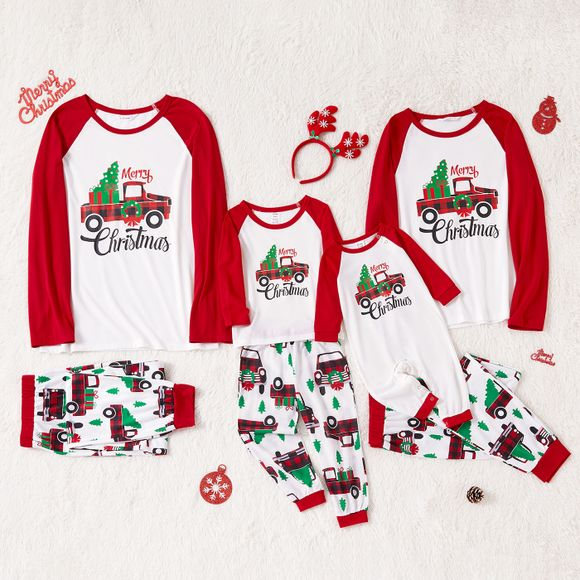 Christmas Tree Car and Letter Print Family Matching Red Raglan Long-sleeve Pajamas Sets (Flame Resistant)
