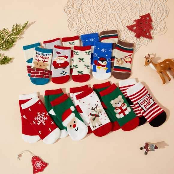 5-pack Christmas Baby / Toddler Winter Thick Terry Non-slip Socks