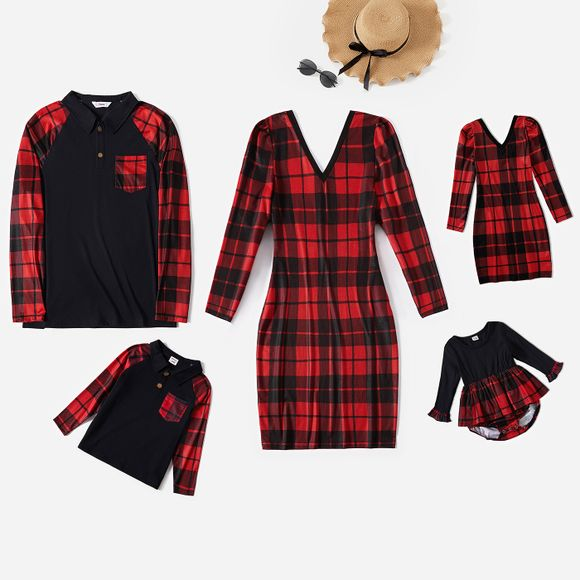 Christmas Red Plaid Family Matching V Neck Long-sleeve Dresses and Splicing Lapel T-shirts Sets