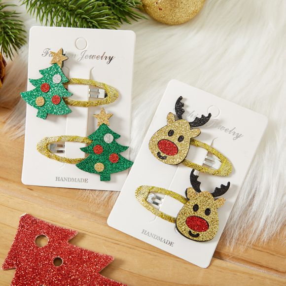 2-pack Christmas BB Clip Snap Hair Clip for Girls