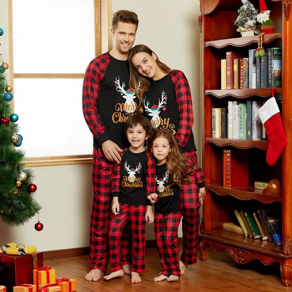 Merry Christmas Letter Antler Print Plaid Splice Matching Pajamas Sets for Family (Flame Resistant)